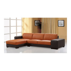 Beverly Hills Furniture Inc. - Dico Italian Leather Sectional Sofa - This Dico Italian Leather Sectional Sofa is crafted in two tone warm finish. The Sectional has premium thick top grain leather with matching vinyl on side and back, kiln dried solid wood frame construction for durability and polyurethane foam seating and armrest.
