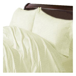 Hothaat - 600TC Stripe Ivory Olympic Queen Fitted Sheet & 2 Pillowcases - Redefine your everyday elegance with these luxuriously super soft Fitted Sheet. This is 100% Egyptian Cotton Superior quality Fitted Sheet that are truly worthy of a classy and elegant look.