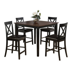 "Jofran - Jofran 262 5 Piece Counter Height Table Set in Burly Brown and Black - Combining traditional details with modern designs, Jofran has a collection to compliment any home decor. This Burly Brown Black 5 Pack Table and 4 ""X"" Back Stools belongs to 262 Series - Burly Brown / Black Collection by Jofran Inc. The classic formulas of color combinations are not valid in Jofran Furniture territory: here is ruled by laws solely of your own preferences and fantasies. Huge selection of colors in combination with a wide choice of shapes and sizes allow you to find among this variety precisely the furniture you've always wanted to see in your home. Jofran Furniture offers high quality, casual furniture pieces that are constructed from premium Asian Hardwoods, and finished with beautiful veneers. Durable materials and quality assembly will help your furniture to serve for many years and will not let you be disappointed in your choice."
