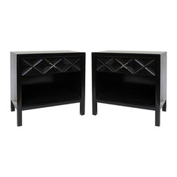 Signed John Widdicomb Nightstands/End Tables - Who knew that a pair of nightstands from the 1950s would come back in style for 2013? I love the quilted diamond effect and the silver nickel pulls on each one, especially because you don't come across that kind of detailing anymore.