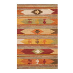 Safavieh - Safavieh Navajo Kilim Nvk177A Red / Multi Area Rug - With a distinct design pattern rooted in Native American Indian lore, with a generous touch of modern American styles, the Safavieh Navajo Kilim area rug is adept at blending in with bright colors and transitional design elements in an interior decor. The hand-woven, flat weave Navajo Kilim rugs are spun with the softest wool, and comes both an adventurous fringed appearance, or with fringeless borders for a clean, more geometric look.