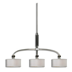Uttermost - Uttermost 21261 Vanalen 3 Light Chrome Island Light - Plated Polished Chrome with White Silken Fabric Shades