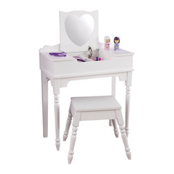 "KidKraft - Kidkraft Kids Jewelry Brushes Storage Organizer Sweetheart Vanity And Stool - Our Sweetheart Vanity and Stool is sure to make any young girl feel like a movie star. Shatterproof heart-shaped mirror made of acrylic plastic. Stool fits under the vanity when not in use. Dimension: VANITY: 23.62""Lx 12.2""Wx 36.06""H, Stool: 16.06""Lx 11.89""Wx 13.5""H"