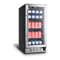 """SPT - SPT 92 Can Beverage Cooler (Commercial Grade) - Have your beer, soda and other beverages chilled and ready to drink with SPT's new Beverage Cooler. Stores up to 92 12-oz cans, ample storage for entertaining and parties. Digital panel with adjustable temperature between 35°F to 65°F. Stainless steel trimmed and dual paned glass door will fit into any game room, kitchen or bar setting. Front ventilation allows flush built-in application and the 15"""" width is perfect for replacing that old trash compactor."""