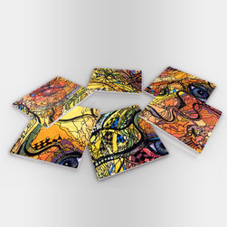 """Custom Photo Factory - Illustrative Puzzle Glass Coasters with Crystal Clarity, 6-Piece Set - Made in the USA. Materials: Smooth tempered glass. Set includes:  (6) drink coasters. Dimensions:  3.94"""" x 3.94"""" x 3/16"""".  Image imprinted on the backside so the item on top of the coaster is never interacting with the print surface. The crystal clarity of our glass coasters delivers reliably uniform color reproductions. Crafters, artists and interior designers will find countless ways to use the features of these glass coasters. This will be the highest quality coasters you've even seen."""