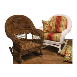 Fifthroom - Wicker Domain Deep Seat Rocking Chair w/ Cushions - If you thought a rocking chair was comfortable, imagine it with a deep seat!  You can completely curl up with that favorite magazine or book and rock gently until your eyelids fall.  You can do it all without a second thought or worry, because it comes with two free cushions and the wicker is completely maintenance free.