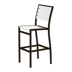 Polywood - Eco-friendly Bar Side Chair in White - Solid, heavy-duty construction withstands natures elements. You wont miss any of the view in this tall, sleek bar height side chair. Polywood lumber requires no painting, staining, waterproofing, or similar maintenance. Polywood lumber does not splinter, crack, chip, peel or rot and it is resistant to corrosive substances, insects, fungi, salt spray and other environmental stresses.