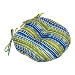 None - Vivid Stripe Indoor Bistro Chair Round Cushion (Set of 2) - Add some color to your indoor chairs with the vivid stripe cushion. Each round cushion has two string ties to secure to chair,and a center circle tack to secure foam cushioning in place without bunching or migrating.