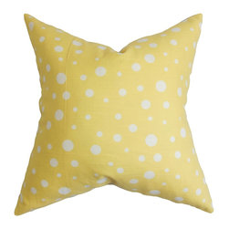 """The Pillow Collection - Bebe Polka Dots Pattern Yellow White 18"""" x 18"""" - This show-stopping accent pillow is the perfect definition of urban chic. A bright yellow background is decorated with white-hued polka dots. This throw pillow will lend your sofa, bed or seat a summery vibe. Pair this 18"""" pillow with solids and other patterns for a multidimensional decor style. 100% US-made and crafted with 100% soft cotton fabric. Hidden zipper closure for easy cover removal.  Knife edge finish on all four sides.  Reversible pillow with the same fabric on the back side.  Spot cleaning suggested."""