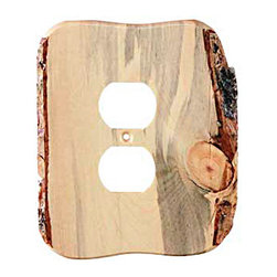 Sierra Lifestyles - Rustic - 1 Duplex Finished - Blued Pine Switchplate (BSH-682762) - Rustic - 1 Duplex Finished - Blued Pine Switchplate