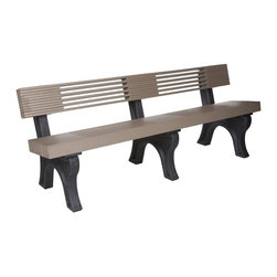 "Eagle One - Eagle One 7 Ft Modern High Back Bench - ""Our Modern Bench 1x4 series is an industrial grade outdoor park bench. Legs are available in: black, brown, green and gray. Shipped knocked down for easy transit, and made from easy to clean never-rot, eco-responsible GREENWOOD HDPE plastic lumber.Dimensions (W x L x D): 86"""" x 27"""" x 35"""" (260 LBS)Material: HDPE Recycled Plastic LumberMade in the USAColor listed is for seat color and not the actual material of the wood"""