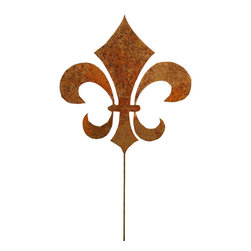 Rustica Ornamentals - Fleur De Lis  Metal Garden Stake, Rustic - This handcrafted Fleur De Lis Garden Stake is a classic must have for any garden.