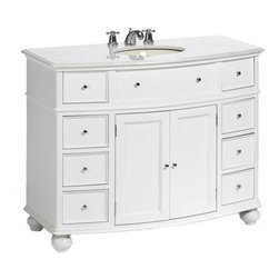 "Home Decorators Collection - Hampton Bay Curved Bath Vanity - You'll love the look of this fresh design from the Hampton Bay Bath Collection. This piece has recessed panel doors and drawers, bun feet and chrome-finished hardware. The curved-front design adds a unique style. Constructed with a sturdy solid wood frame, this bathroom sink cabinet features a 3/4""-thick solid granite top. Crafted of real granite, the vanity top may contain swirling or veining. These features are part of the natural beauty of stone and have no effect on function or durability. Eight drawers for accessory storage. Spacious cabinet.Find the perfect faucet to complete your new bath vanity at The Home Depot"