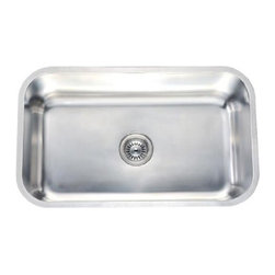 Dawn - Dawn Sinks Undermount 18 Gauge Rectangular Single Bowl Kitchen Sink - This Undermount 18 Gauge Rectangular Single Bowl Kitchen Sink by Dawn Sinks is made of 304 type Stainless Steel with 18/8 Chrome-Nickel content. The Satin Nickel Polished finish looks great in any kitchen and the sink is long-lasting and easy-to-clean. Ships via UPS/FedEx Ground.