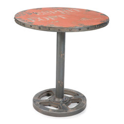 Moe's Home Collection - Wheel Table Round Orange - Small scale Dining table for Loft or Studio.