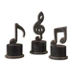 Uttermost - Uttermost Music Notes Metal Figurines, Set/3 - 19280 - Uttermost Music Notes Metal Figurines, Set/3 - 19280