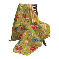 Greenland Home Mendocino Throw Blanket - When the weather gets as cold as it has this winter, I like to keep baskets filled with comfortable throws in the living room and bedrooms. This reversible throw looks cozy and cheerful, and it reminds me that spring is right around the corner.