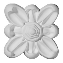 """Ekena Millwork - 3 7/8""""W  x 3 7/8""""H x  3/4""""P Emery Flower Rosette - Our rosettes are the perfect accent pieces to cabinetry, furniture, fireplace mantels, ceilings, and more.  Each pattern is carefully crafted after traditional and historical designs.  Each piece comes factory primed and ready for your paint.  They can install simply with traditional adhesives and finishing nails."""