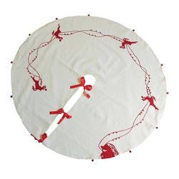 Xia Home Fashions - Santa's Sleigh With Bells & Reindeer Crewel Holiday Round Tree Skirt, 60x60 - Crewel embroidery in classic holiday colors makes these charming linens a warm and joyous touch to your holiday season decor! Machine wash cold water, no bleach, lay flat to dry. Light iron as needed.
