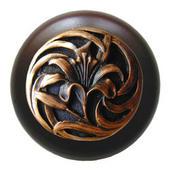 "Notting Hill - Notting Hill Tiger Lily/Dark Walnut Wood Knob - Antique Copper - Notting Hill Decorative Hardware creates distinctive, high-end decorative cabinet hardware. Our cabinet knobs and handles are hand-cast of solid fine pewter and bronze with a variety of finishes. Notting Hill's decorative kitchen hardware features classic designs with exceptional detail and craftsmanship. Our collections offer decorative knobs, pulls, bin pulls, hinge plates, cabinet backplates, and appliance pulls. Dimensions: 1-1/2"" diameter"
