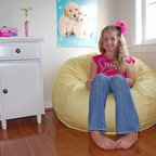 "Bean Bag Chairs for Girls Rooms - Ahh! Products organic cotton bean bag chair in yellow. Remove and wash cover, water-repel liner. 37"" wide large size. 10 year warranty, Made in USA."
