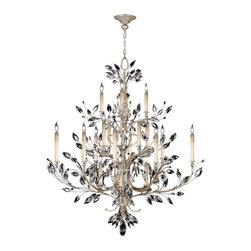 Fine Art Lamps - Fine Art Lamps 771140ST Crystal Laurel Warm Silver 20 Light Chandelier - 20 Bulbs, Bulb Type: 60 Watt Candelabra; Weight: 88lbs