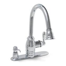 "Premier - Premier ""Sonoma"" 1-H Chrome Pull Down Kitchen Faucet With Soap Dispenser 120110 - Premier ""Sonoma"" One Handle Pull Down Kitchen Faucet With Soap Dispenser."