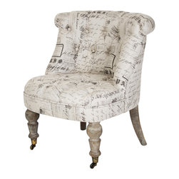 Zentique - Amelie Slipper Chair - Natural/Print - You don't believe traditional has to mean conventional — and this plush, playful yet sophisticated chair proves you right. With curved back legs and carved front ones on casters, plus a tufted linen upholstered body in your choice of colors, it's bound to be the star of your favorite setting.