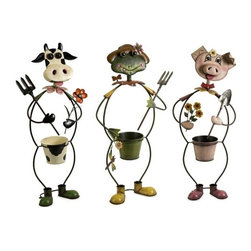 """IMAX - Farmhouse Friends Planters - Set of 3 - Cow, frog and pig farm characters frame the planters in this whimsical set of three planters made of metal and painted with brilliant color. Item Dimensions: (34""""h x 14""""w x 8"""")"""