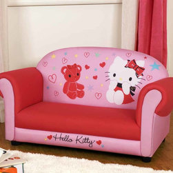 Kids Furniture - Join Hello Kitty and her teddy bear on this colorful, spacious sofa decorated with hearts and stars. Solid legs provide sturdy support and foam padding makes this bright pink sofa very comfortable for two.