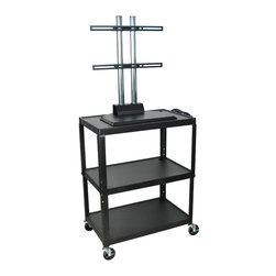 "Luxor - Luxor Extra Wide Flat Panel Cart - AVJ42XL-LCD - Extra large AVJ series cart. We took our top selling AVJ series cart and made it slightly larger. Our new XL series features shelves that are 32""W x 20""D. All steel cart that is adjustable in height from 24""-42""H. Cart adjusts in 2"" increments. Cart features a Plasma/LCD mount that holds a 32""-50"" display. Unit features a 3-outlet surge suppressing electric assembly. Shelf clearance between the bottom to middle shelf is 14 3/4""H. Cart features a 1/4"" retaining lip around each shelf. Black powder coat finish. Cable pass through holes in top and middle shelf. Includes Plasma/LCD mount."