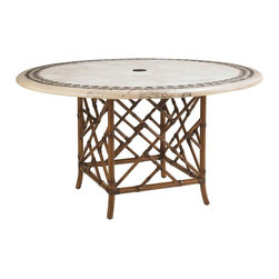 Lexington - Tommy Bahama Island Estate Veranda Round Dining Table Base - The square base for the 54 inch diameter dining table tops reflects the chippendale design in a beautiful linen white sun-drenched umber coloration on the leather wrapped bamboo. The design compliments both the stone or weather stone tops.