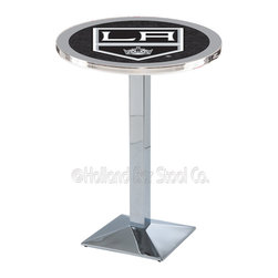 Holland Bar Stool - Holland Bar Stool L217 - Chrome Los Angeles Kings Pub Table - L217 - Chrome Los Angeles Kings Pub Table  belongs to NHL Collection by Holland Bar Stool Made for the ultimate sports fan, impress your buddies with this knockout from Holland Bar Stool. This L217 Los Angeles Kings table with square base provides a commercial quality piece to for your Man Cave. You can't find a higher quality logo table on the market. The plating grade steel used to build the frame ensures it will withstand the abuse of the rowdiest of friends for years to come. The structure is triple chrome plated to ensure a rich, sleek, long lasting finish. If you're finishing your bar or game room, do it right with a table from Holland Bar Stool.  Pub Table (1)