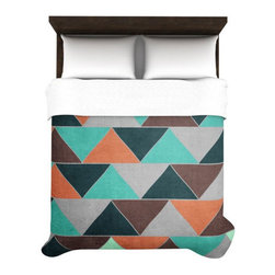 Geometric Desert Sunset Duvet Cover - Bring a room together for incoming guests with a simple toss of this geometric-print duvet cover. Reminiscent of a desert sunset, its vibrant warm hues are offset by rich, cool shades. Made from incredibly soft microfiber material, your guests will sleep blissfully under its attractive appeal.