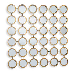 Kathy Kuo Home - Mila Hollywood Regency Round Mirror Mosaic Wall Decor - Create a strong graphic effect with this small wall mounted grid of oval, gold framed mirrors.  Perfect for rooms in need of a contemporary pick me up, consider this an easy shot of visual espresso for any space.