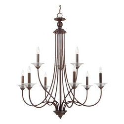 Sea Gull Lighting - Sea Gull Lighting 31319 Lemont Nine Light Candelabra Chandelier - The Lemont Collection has the essence of classic style stripped of excessive ornamentation for a clean neo-contemporary that will enhance the style of your home without too much damage to your bank account.Features: