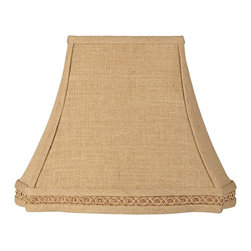 """Lamps Plus - Traditional Braid Trim Rectangular Lamp Shade 6/8x12/16x12.25 (Spider) - Add a classic and beautiful accent piece with this soft colored rectangular lamp shade. A delicate braided trim and polished brass spider fitter completes the look. The correct size harp is included with this item. Rectangular softback lamp shade. Polyester interior and exterior. Tan fabric lining. Scalloped bottom. Polished brass spider fitter. Gallery braid trim. 8"""" across the top. 16"""" across the bottom. 12 1/4"""" on the slant.  Burlap rectangle softback lamp shade.  Polyester interior and exterior.  Tan fabric lining.  Scalloped bottom.  Polished brass spider fitter.  Gallery braid trim.  8"""" wide and 6"""" deep across the top.  16"""" wide and 12"""" deep across the bottom.  12 1/4"""" on the slant."""