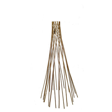 """Master Garden Products - Carbonized Barkless Peeled Willow Round Teepee Trellis, 60""""H - Assist your plant with this classic willow teepee flower support. Used by amateur and professional growers alike, this device supports plant stems during growth to help plants reach new heights. The beautiful round teepee design offers flexibility for use with climbing plants or flowers. This lightweight support endures the elements with its strong, durable construction. Comes fully assembled and ready to use. Constructed with carbonized peeled willow sticks, they are light mahogany in color, we offer it in 5 feet high. We recommend putting a coat of linseed oil or outdoor sealer to preserve peeled skin willow product outside."""