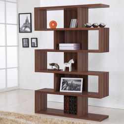 Hokku Designs - Enitial Lab Marcel Modern Walnut Bookcase/Display Stand, Walnut - A unique shape makes the Marcel Walnut Display Stand/Bookcase stand out, as a smart design makes it a favorite. It offers the perfect place for your books and ornaments, while the unique shape keeps your living room space completely fashionable and up to date. Features: -Bookcase/display stand. -Matte walnut finish. -Constructed of wood, medium fiber board and veneers. -Contemporary style. -Five unique storage compartments. -Can be used as a room divider or place it against a wall. -Open back design with center support to provide maximum stability. -ISTA 3A certified. -Assembly required.