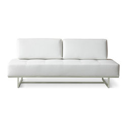 Gus Modern - James Lounge, Vinyl Snow - ames Lounge by Gus Modern. The James Lounge is the perfect seating solution for anybody with a studio or if you seem to always have guests in for a quick stay. A striking and comfortable sofa by day; the back cushions can be removed to reveal a comfy twin-size bed by night! Its super clean lines and modern proportions make it the perfect focal point for any space, and handy addition you will be glad you made!
