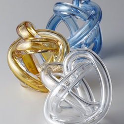 Sklo - Sklo Blue Knot Sculpture - Alone, in multiples, repeated around other decorative elements—however it is displayed, this endlessly twining, flawless glass knot engages the eye and enchants the mind. Each wound length of glass tube is unique; no two are exactly alike. Mouth-b...