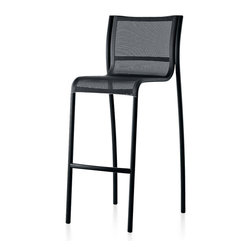 Magis - Paso Doble Stool, Outdoor, Set of 2 - Look cool at your pool or patio with these sleek counter height stools. The set of two features breathable mesh seats that allow any water to filter through. And the sturdy, black aluminum frames are lightweight so the party can move at a moment's notice.