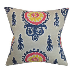"The Pillow Collection - Oenpelli Floral Pillow Birch 20"" x 20"" - Intricate floral print pattern decorates this gorgeous throw pillow. This accent pillow is a striking statement piece with its blue, yellow and pink and grey color palette. Stylize your living room, bedroom or kitchen with this decor pillow for a stylish vibe. This 20"" pillow brings comfort with its plush and down-filled materials. Made from 100% soft cotton fabric. Hidden zipper closure for easy cover removal.  Knife edge finish on all four sides.  Reversible pillow with the same fabric on the back side.  Spot cleaning suggested."