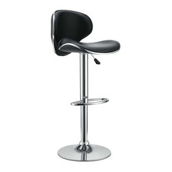Modway - Saddleback Bar Stool in Black - Ride new vistas and conquer all obstacles with this adventure packed bar stool. Gird yourself as an underlying force of light-filled prowess bursts from this pedestal of strength. Celebrate special moments and enliven casual repartee with the vinyl wave seat and polished chrome base.