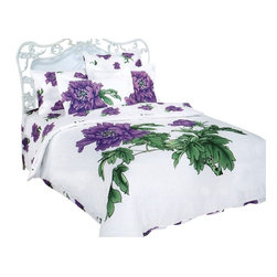 Dophia - 6 Pc Queen Peony Duvet Cover Bedding Set - Includes a bed sheet, duvet cover, two pillow cases and two pillow shams. 205 thread count. Machine washable. Imported. Exotic effect is created with purple peonies scattered pure white backdrop. Snaps at foot of the duvet makes easy to insert a comforter. Tucked in or can hang over eliminating the need for a bed skirt. Oversized flat sheet provides versatility. Made from 100% cotton. Flat Bed Sheet: 102 in. L x 94 in. W. Duvet Cover: 87 in. L x 80 in. W. Pillow Cases: 30 in. L x 20 in. W. Pillow Shams: 32 in. L x 20 in. WHigh quality cotton fabric and superior workmanship with fine yarns of satin weaving for wrinkle control are printed with the latest reactive dyeing technology for excellent brightness and long lasting colors. The sheets feel soft and inviting and are guaranteed many years of reusable life. This complete bedding set is delivered in an elegant box wrapped in glossy paper and tied with an ornamental bow. A Dophia French designer carrying gift bag is also included in the package. A DOPHIA designer carrying gift bag is also included in the package.