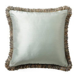 Frontgate - Silk Decorative Pillow with Fringe - Masterfully sewn silk. Includes hypo-allergenic poly fiber fill insert. Hidden zipper. Because this bedding is specially made to order, please allow 4-6 weeks for delivery.. Our Decorative Throw Pillows are sewn from lustrous silk. Each finely crafted pillow features coordinating decorative trim (loop fringe or welt cord) and a plump poly fill insert.  .  .  . . Made in the USA of imported fabrics.