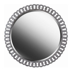 Kenroy Home - Kenroy 61015 Geo Wall Mirror - Whether your home is traditional or contemporary, Geo will be sure to make an impact. At 34 inches wide, Geo is framed with a bright silver intertwined pattern. This rounded mirror adds glamour and elegance to any space in your home.