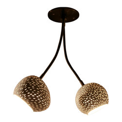 Lightexture - Double Headed Claylight - Are two heads better than one? They are when they're part of this innovative ceiling fixture. Perforated ceramic globes are affixed to flexible steel arms, allowing you to shed light in any direction, while playful slivers of light illuminate the walls and ceilings. A fun and functional lighting solution.