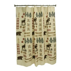 Bacova North Ridge Shower Curtain - Your decorating sense finds true north in the Bacova North Ridge Shower Curtain, a beautifully designed rustic pattern that will make even cold showers feel like authentic outdoor living. Made from 100% machine washable polyester, this quality curtain offers the superior durability and color retention of a heat-transferred print.About Bacova The Bacova Guild has become one of the largest producers of printed accent rugs, floor mats, and bathroom ensembles, offering more than 30 distinct product lines with around 3,000 unique items. Located in Covington, Virginia, Bacova is a wholly owned subsidiary of Ronile Incorporated. They continue to serve a diverse customer base by setting the standard with fresh and innovative fashions exhibited in their annual offerings of hundreds of new designs. With their reach stretching well beyond the borders of the United States, Bacova has a worldly outlook to meet the needs of an ever-changing marketplace. In spite of their rapid growth over the last decade, Bacova remains committed to a standard of style and quality that can't be matched.