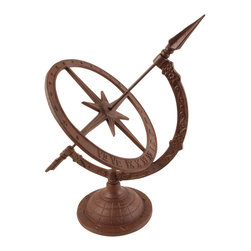 Esschert Design - Cast Iron Sundial - Small - Small Victorian cast iron sundial on classic base.  Hour indicator is in Roman Numerals.